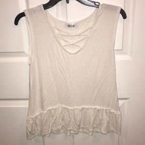 White Dressy Tank with Criss-Cross Design
